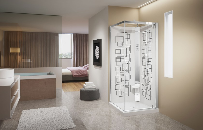 Hydromassage shower cabin with sliding door CRYSTAL by NOVELLINI