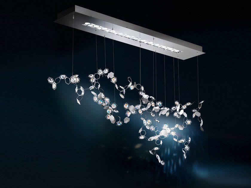 Led direct light pendant lamp with swarovski crystals crystalon pendant lamp by swarovski