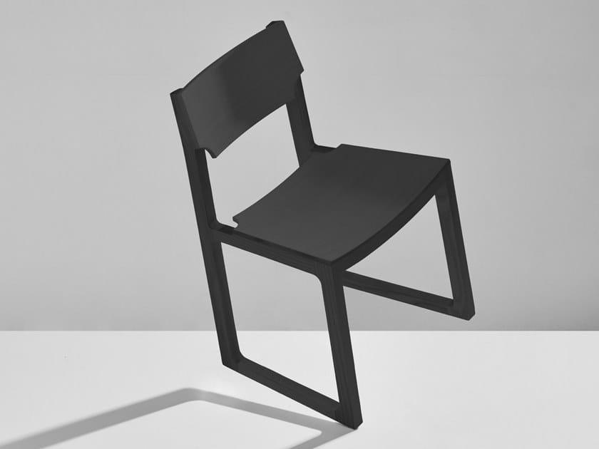 Sled base solid wood chair CUB by DesignByThem