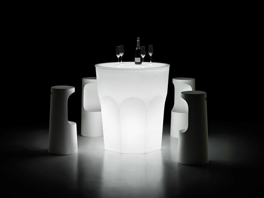 Round high table with light CUBALIBRE TABLE LIGHT by Plust