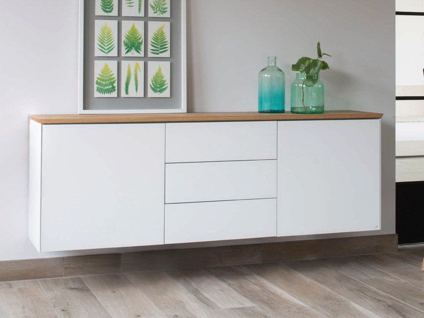 Modular suspended Xeramica sideboard with doors CUBE 55 | Suspended sideboard by Joli