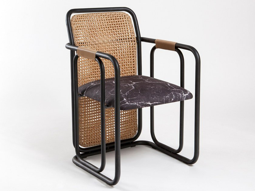 Wicker chair with armrests CUBE by KONTRA