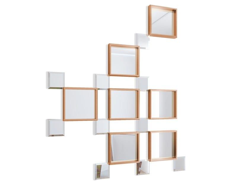 Wall-mounted framed mirror CUBE by Malabar