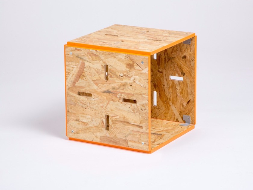 OSB stool / coffee table CUBE OUVERT OSB by ENEIXIA