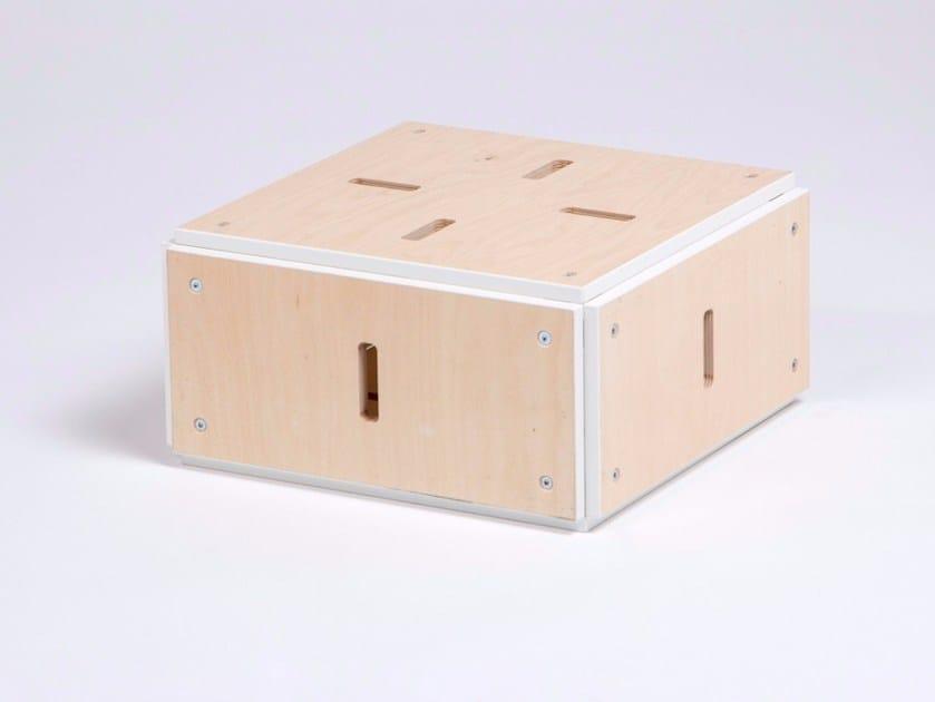 Tavolino basso quadrato in compensato CUBE PLAT FERME by ENEIXIA