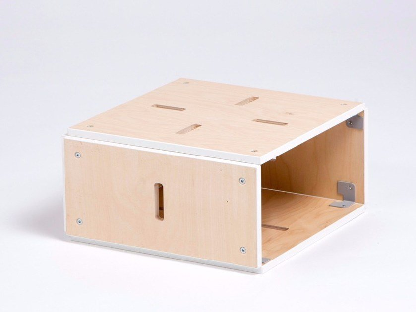 Low square plywood coffee table with storage space CUBE PLAT OUVERT by ENEIXIA