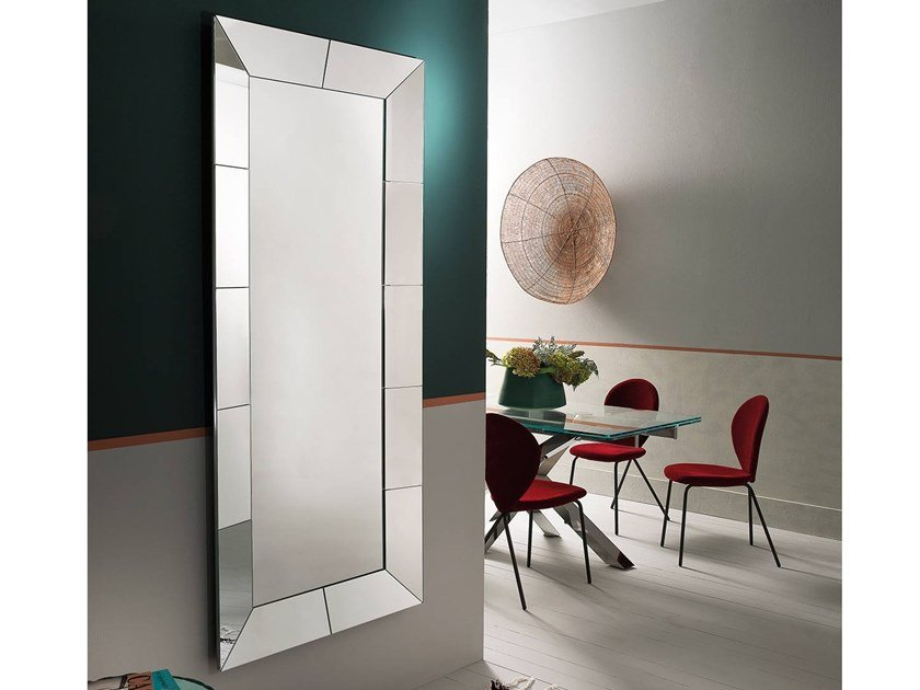 Rectangular wall-mounted framed mirror CUBE | Rectangular mirror by RIFLESSI