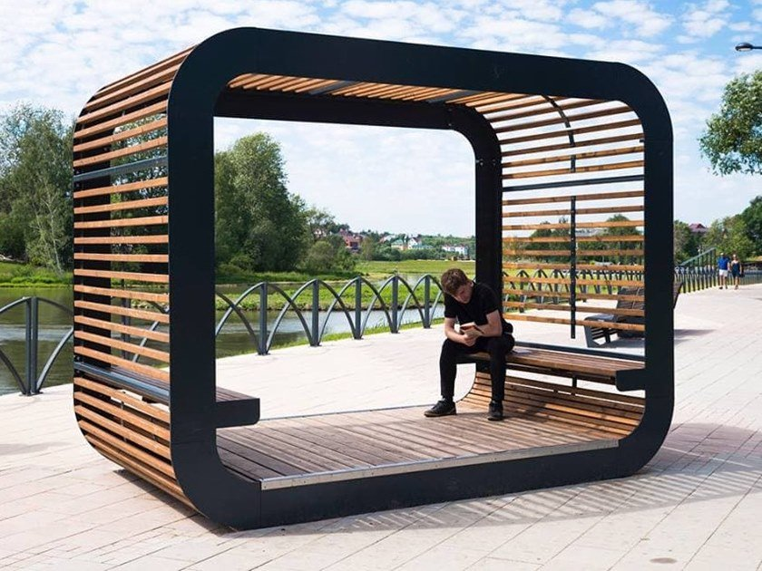 Steel and wood Screen for dehor CUBE | Screen for dehor by Punto Design
