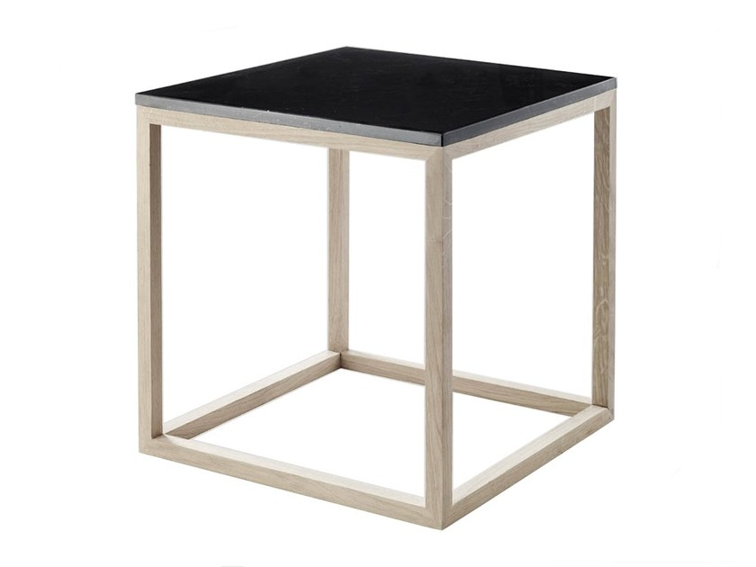 Marble coffee table / bedside table CUBE TABLE OAK & MARBLE by Kristina Dam Studio