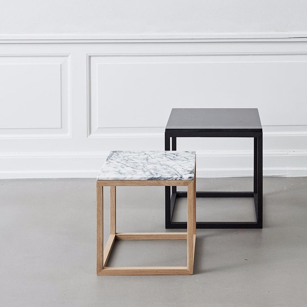 Marble Coffee Table Bedside Table CUBE TABLE OAK MARBLE By - Marble cube coffee table