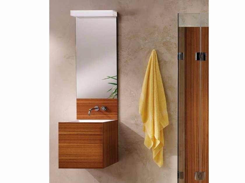Wall-mounted wooden vanity unit with mirror CUBE | Vanity unit with mirror by CARMENTA