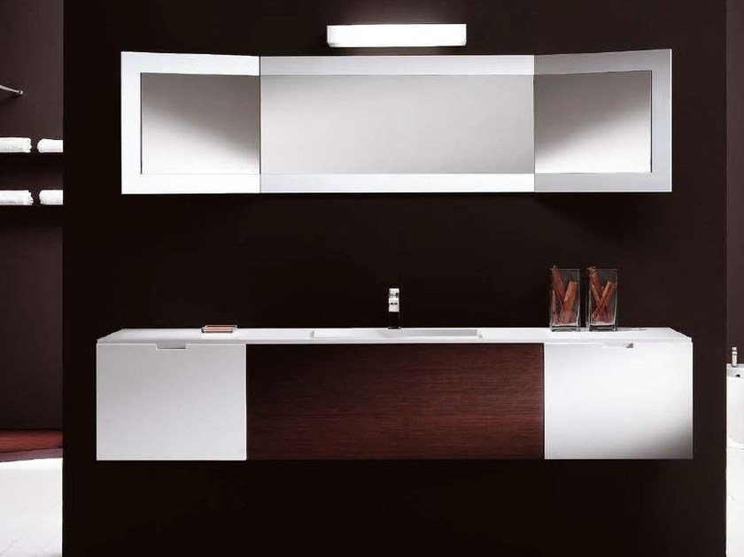 Wooden vanity unit with drawers CUBE | Wall-mounted vanity unit by CARMENTA