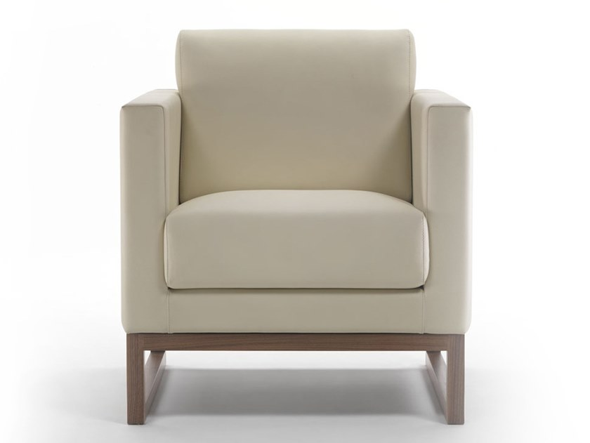 Sled base leather armchair with armrests CUBIC | Sled base armchair by Marelli