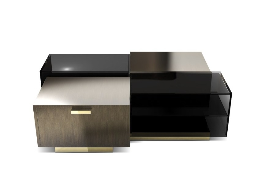 Coffee table with storage space for living room CUBICLE by Porustudio