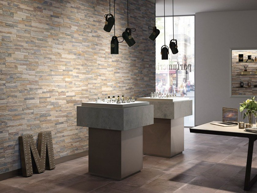 Glazed stoneware wall tiles with stone effect CUBICS by Ceramica Rondine