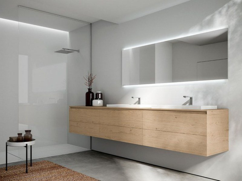 Wall-mounted wooden vanity unit with mirror CUBIK N°16 by Idea