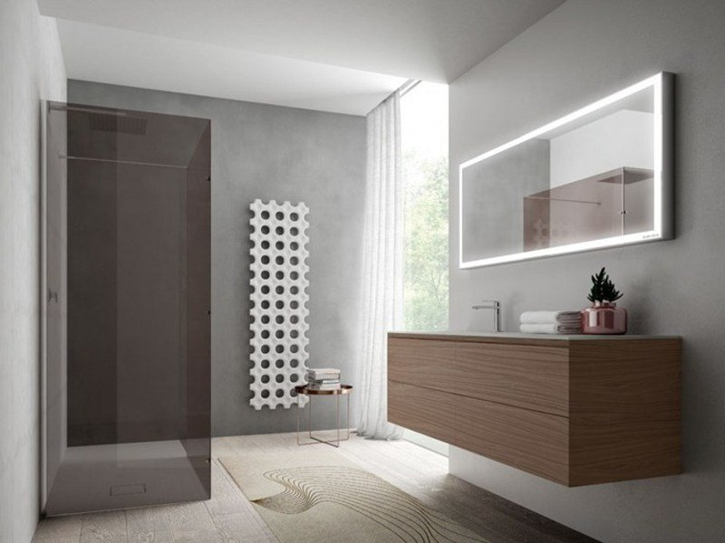 Wall-mounted wooden vanity unit with mirror CUBIK | Vanity unit with mirror by Idea