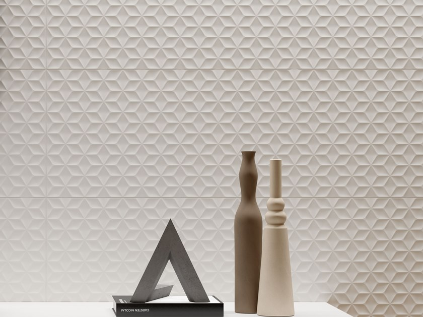 White-paste 3D Wall Cladding FORME BIANCHE CUBO by Impronta Ceramiche