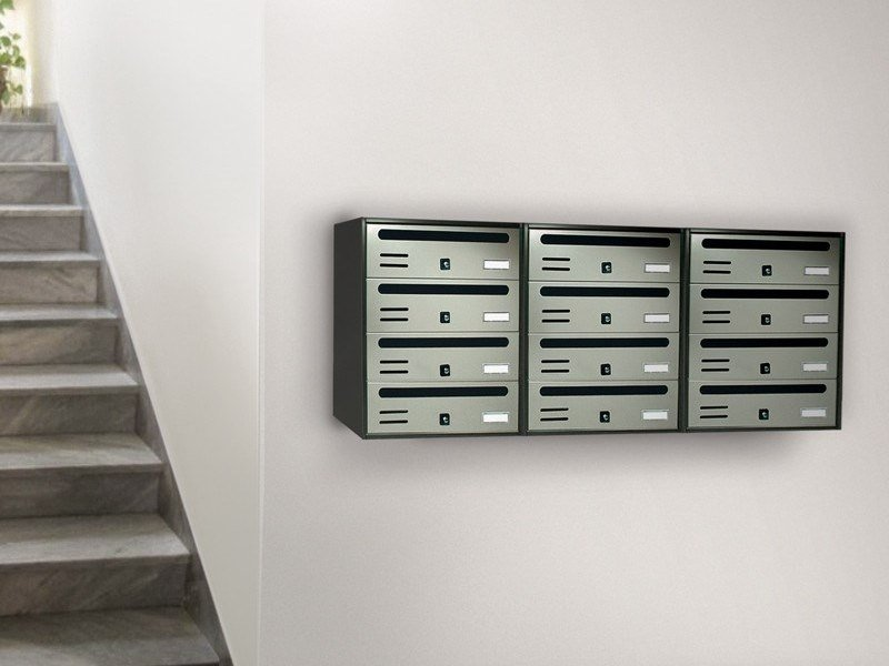 Wall-mounted galvanized plate mailbox CUBO COMPOSTO RIVISTA by Alubox