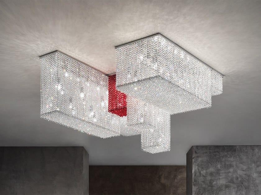 Lampada da soffitto in metallo con cristalli CUBO PL COMBO by Masiero