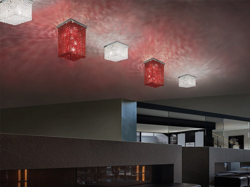Lampada da soffitto in metallo con cristalli CUBO PL SQUARE by Masiero