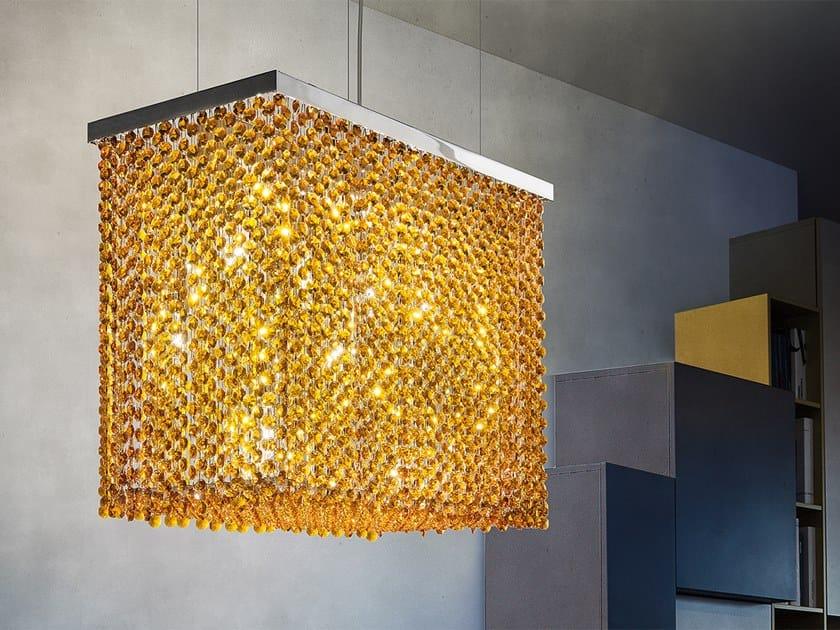 Lampada a sospensione in metallo con cristalli CUBO S by Masiero