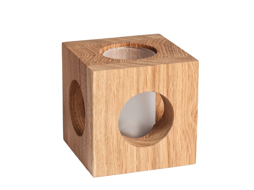 Oak candle holder CUBO by designimdorf