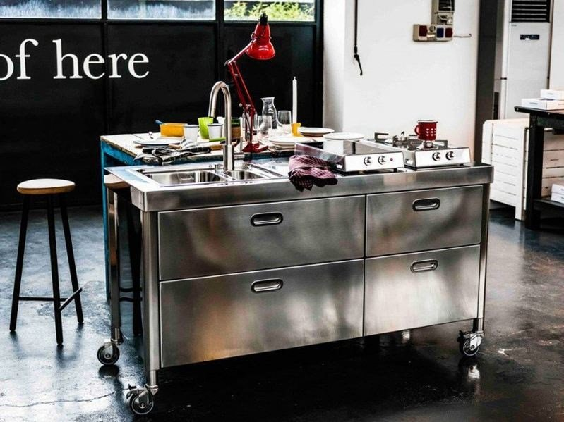 "Brushed steel kitchen unit CUCINA 160  ""OUT OF HERE"" by ALPES-INOX"