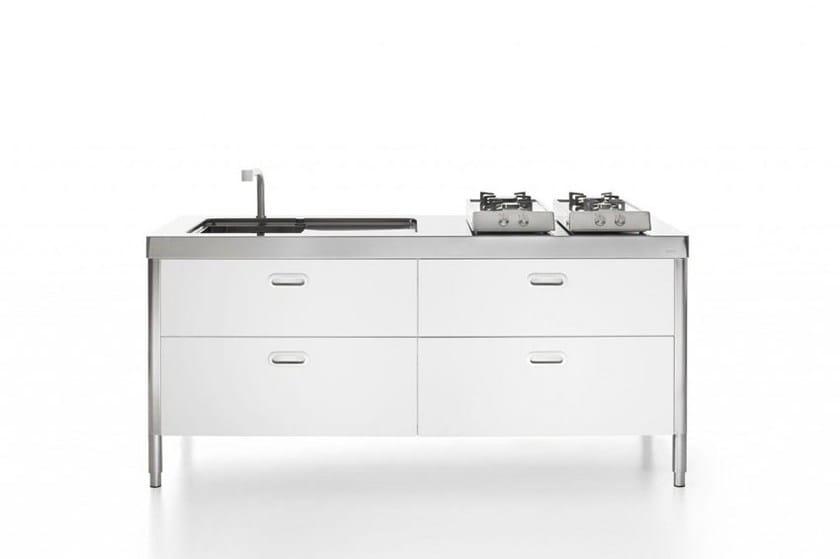 Modulo cucina freestanding lineare in acciaio inox in stile moderno con maniglie integrate CUCINA 190 BIANCA | Cucina in acciaio inox by ALPES-INOX