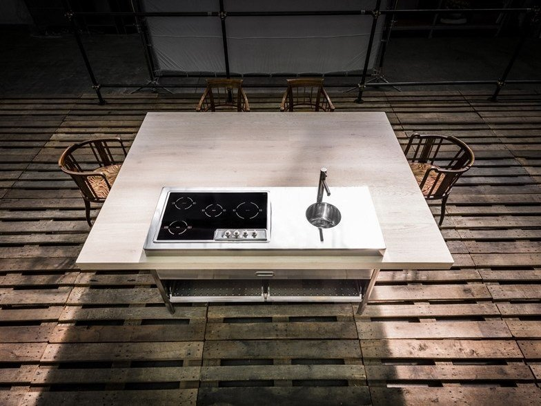 Contemporary style custom stainless steel kitchen with island CUCINA CONVIVIO – TAVOLO IN LEGNO 190X25 by ALPES-INOX