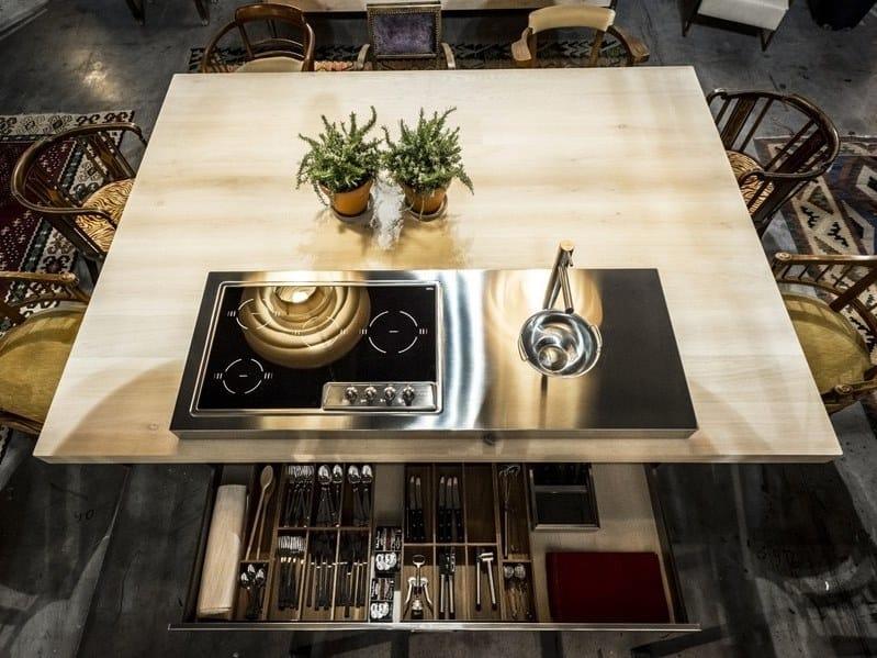 Nach Mass Küche aus Edelstahl im modernen Stil mit Kücheninsel ...