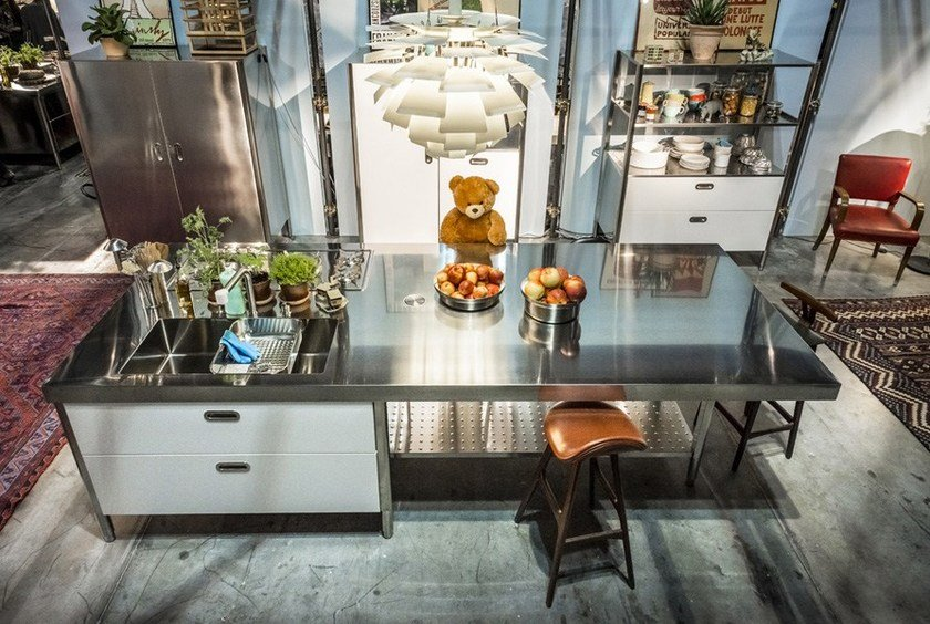 CUCINA CONVIVIO – TOP INOX 125X310 | Küche mit Kücheninsel ...