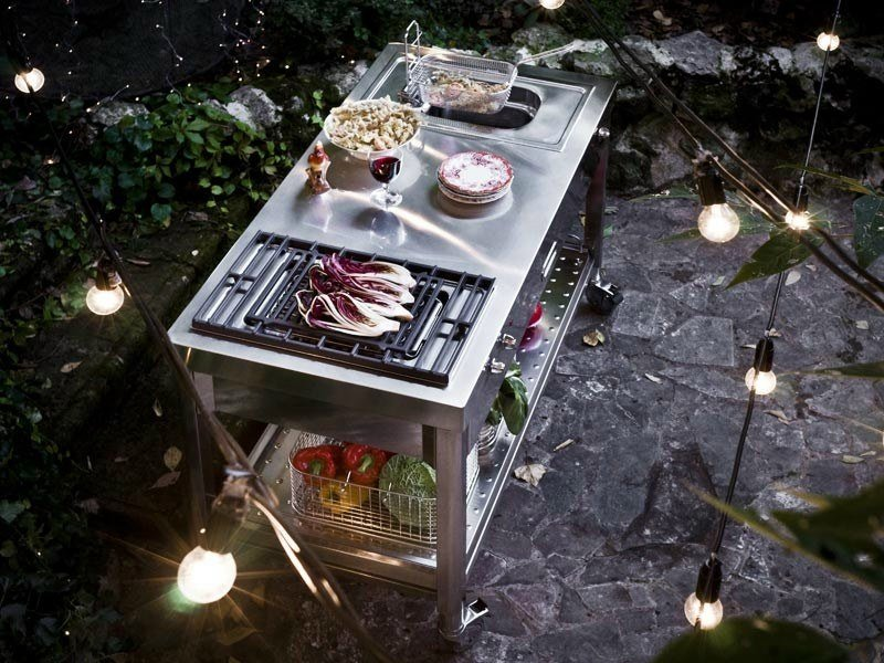 Gas Electric outdoor kitchen with Grill CUCINA OUTDOOR 130 – GRILL E FRIGGITRICE | Outdoor kitchen by ALPES-INOX