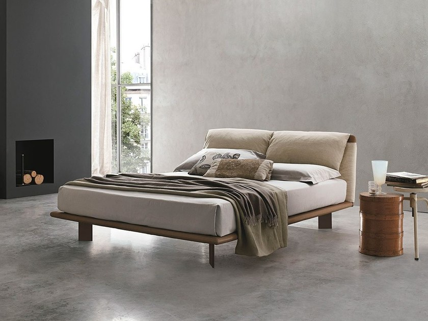Leather double bed with upholstered headboard CUDDLE by ALIVAR