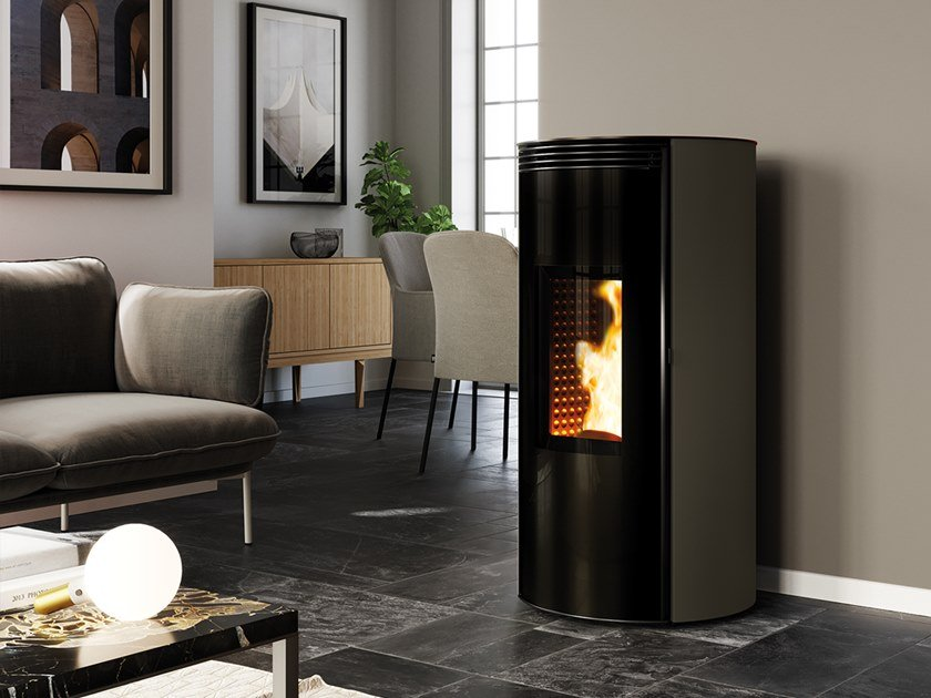Pellet Class A+ wall-mounted steel stove CUMA EVO by CAMINETTI MONTEGRAPPA