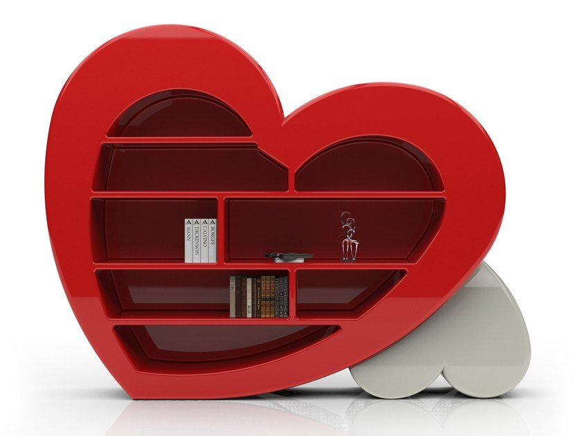 Wall-mounted lacquered bookcase CUORE | Bookcase by Italy Dream Design