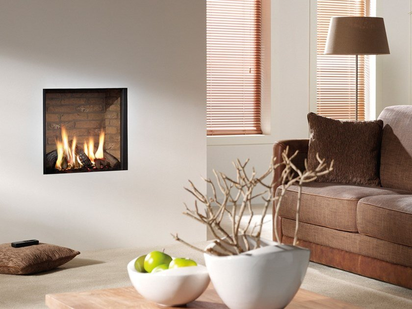 Gas wall-mounted steel fireplace with panoramic glass CUPIDO by RÜEGG