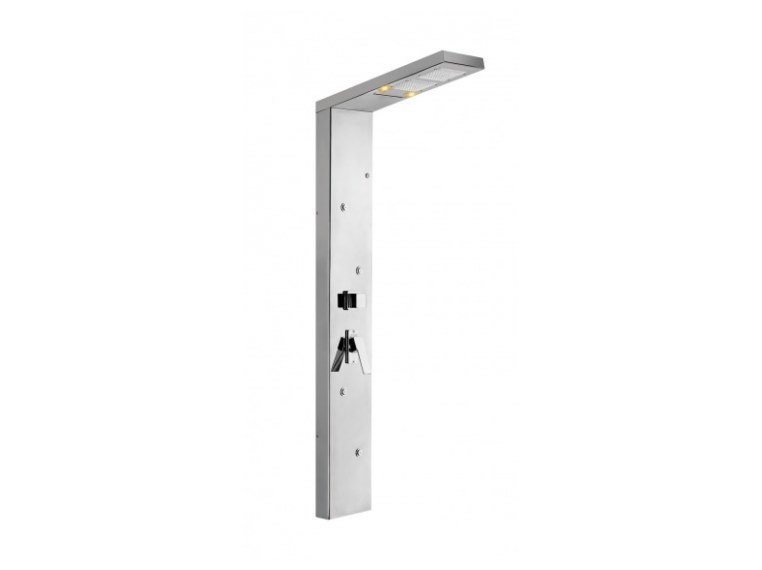 Wall-mounted stainless steel shower panel with chromotherapy CUPIDO WELLNESS by Ama Luxury Shower