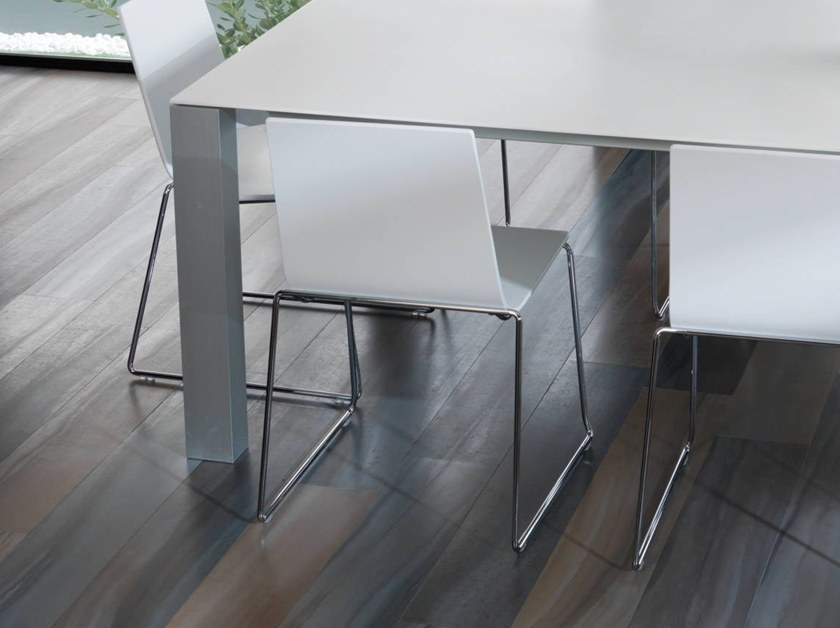 Sled base wood veneer chair CURVE | Chair by Gamadecor