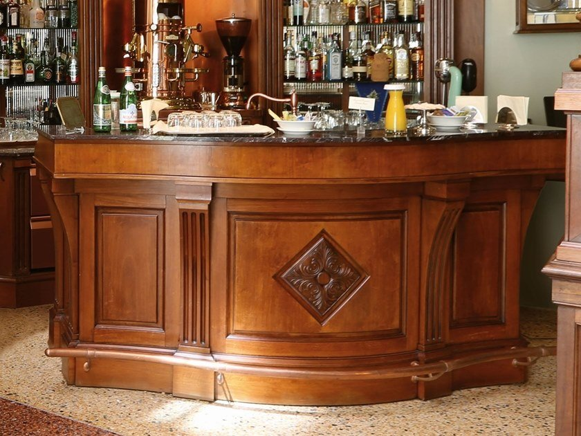 Bancone bar in legno CURVED | Bancone bar by Arnaboldi Interiors
