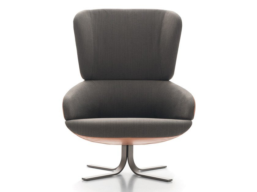 Wing fabric armchair with 4-spoke base CUT by Ditre Italia
