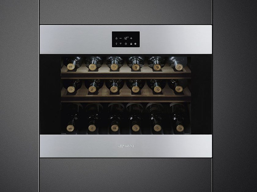 Built-in Glass and Stainless Steel wine cooler Class A + CVI318-WX2 by Smeg