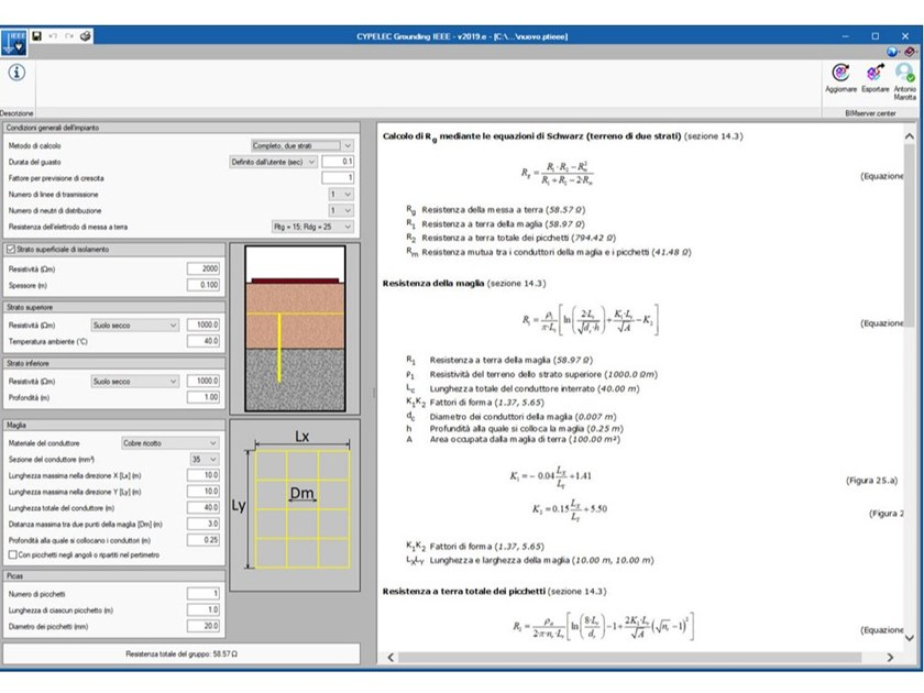 Electrical, electro-technical building services design CYPELEC GROUNDING IEEE by ATH ITALIA software