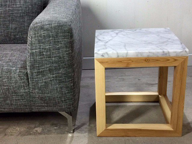 Square Carrara Marble And Wooden Coffee Table Granite By Atelier Bussière