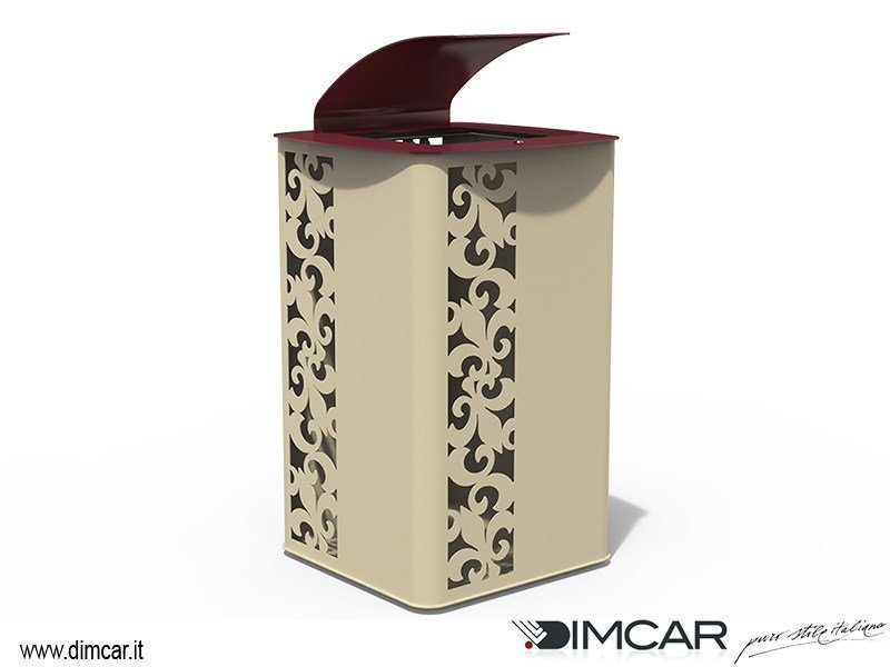 Metal litter bin with lid Cestone Giglio by DIMCAR