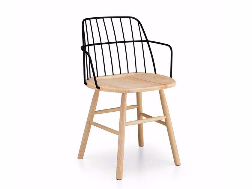 Steel and wood chair with armrests STRIKE P | Chair with armrests by Midj