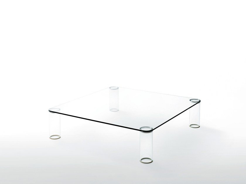 Low square crystal coffee table PIPELINE | Coffee table by Glas Italia