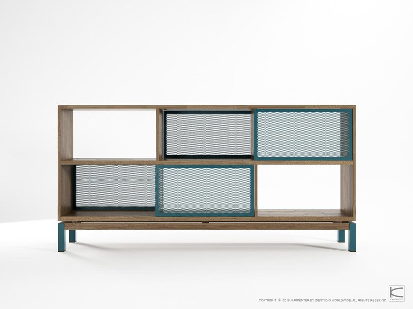 Double-sided teak sideboard with sliding doors COLOR BE BOP SEE-THROUGH by KARPENTER