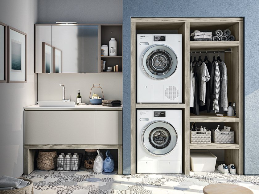 Sectional laundry room cabinet with sink REGOLA COMP.1 by Cerasa
