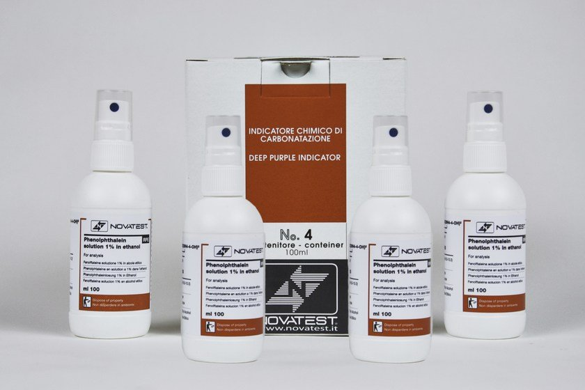 Chemical indicator of carbonation of concrete Confezione Fenolftaleina by NOVATEST